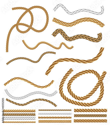 Fotografie, Obraz Vector Rope Brushes - with brush library