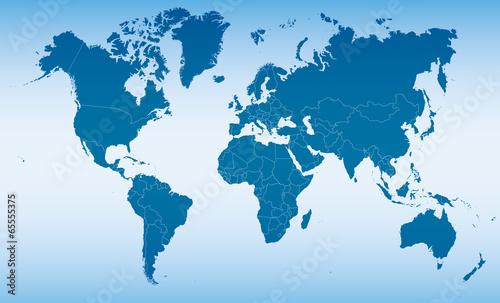 Fotobehang Noord Europa blue map of world