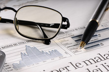 Newspaper, Pen And Glasses