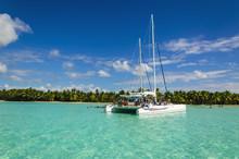 White Catamaran On Azure Water...