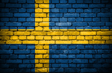 Brick Wall With Painted Flag Of Sweden