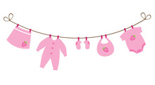 Vector Newborn Baby Clothes Card