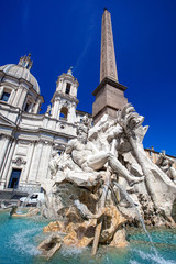 Fototapeta Rzym Fountain of the Four Rivers in Piazza Navona, Rome, Italy