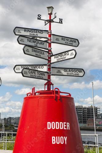 Boje mit Städte- und Distanzangaben in Dublin Poster