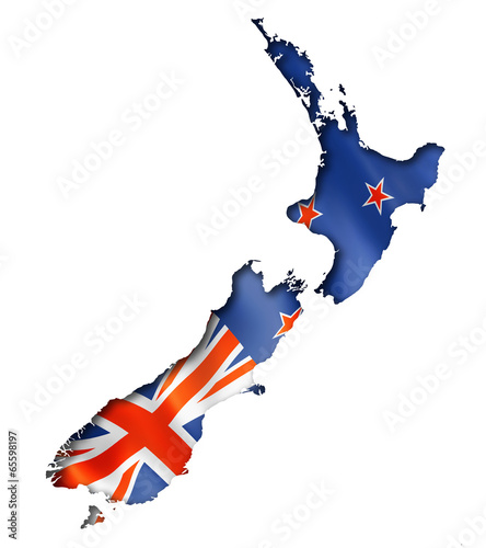 Fotomural New Zealand flag map