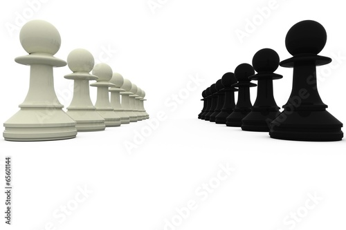 Fotografie, Tablou  Black and white pawns facing off