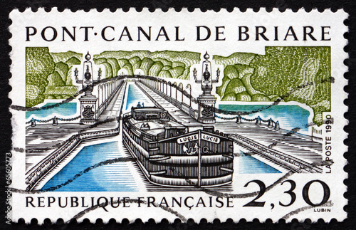 Poster Channel Postage stamp France 1990 Briare Aqueduct