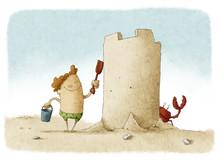 Boy Builds Big Sand Castle