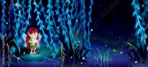 wrozka-w-srodku-nocy-w-ciemnym-niebieskim-lesie