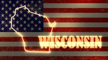 Neon Shining Outline Map Of Wi...