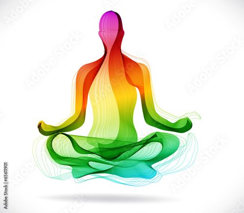 Yoga pose, Abstract color background