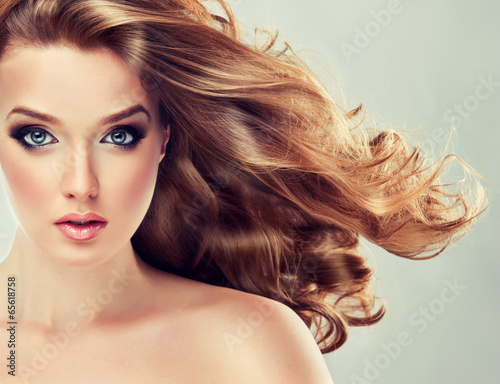 Beautiful model blond with curly hair
