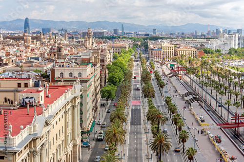 Aerial view of Passeig de Colom and the skyline of Barcelona, Sp Canvas Print