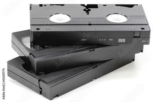 Fotografie, Obraz  Videokassetten isoliert auf weißem Hintergrund