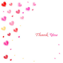 Thank You Water Color Hearts Greeting Card Vector