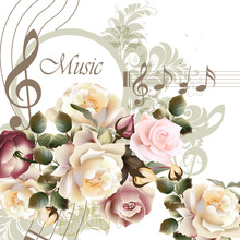 Music Vector Background With Roses For Design