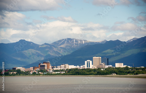 Photo Office Buildings City Skyline Downtown Anchorage Alaska USA