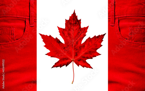 Foto op Canvas Canada Flag of Canada, jeans, maple