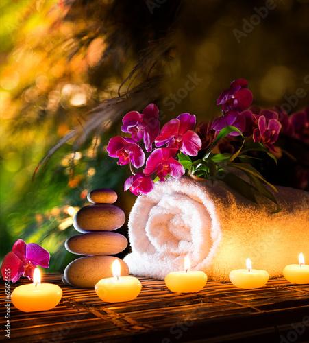 Photo  spa in garden - vertical composition relax