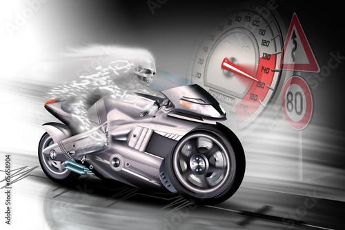 Motorrad mit Tod und Tachometer