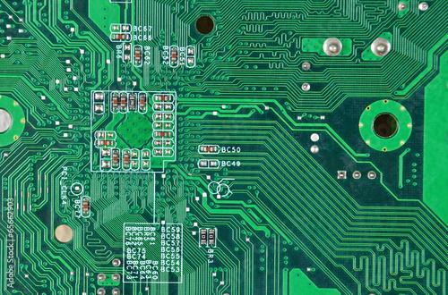 Fotografie, Obraz  Close up of a printed green computer circuit board