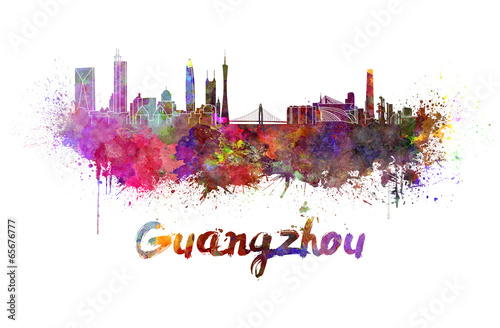 Foto op Canvas Barcelona Guangzhou skyline in watercolor