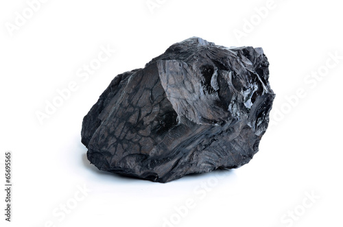 Valokuvatapetti Coal on white background