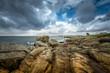 Stormy weather on rocky coast