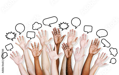 Canvas Print Multi Ethnic People's Hands Raised with Speech Bubble