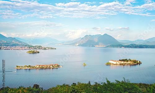 Photo sur Toile Bleu clair Les îles Borromées sur le Lac Majeur