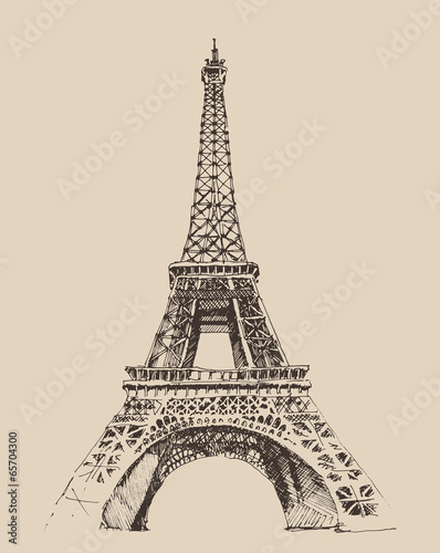 Eiffel Tower in Paris architecture, engraved illustration Poster