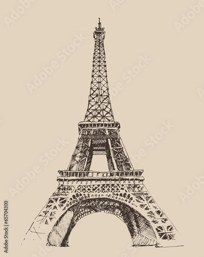 Architecture de la Tour Eiffel à Paris, illustration gravée Poster