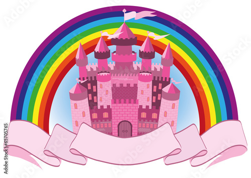 Foto op Aluminium Kasteel Fairy Tale pink magic castle and rainbow