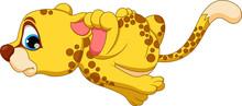 Cute Cheetah Cartoon Running