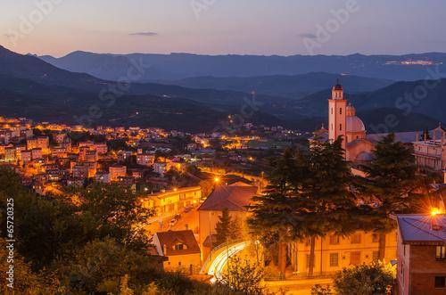 Photo  Mountain town - Lanusei (Sardinia, Italy) at night