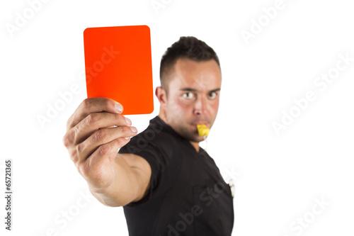 Schiedsrichter mit roter Karte, freigestellt Canvas Print