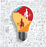 vector businessman up the Ladder paper cut style in light bulb s