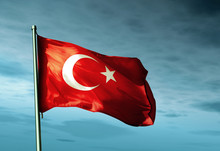 Turkey Flag Waving On The Wind