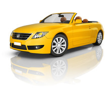 Yellow Convertible 3D Car