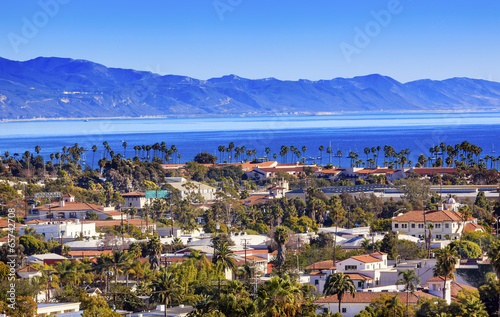Fotografie, Tablou  Buildings Coastline Pacific Ocean Santa Barbara California