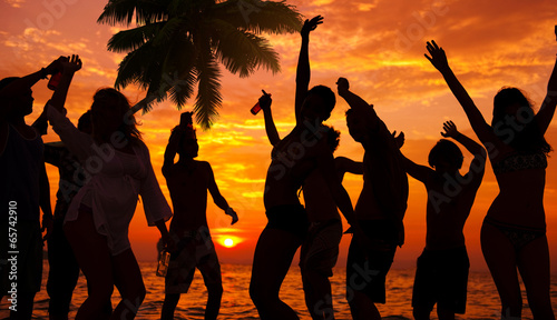 Fotografie, Obraz  Silhouettes of Diverse Multiethnic People Partying