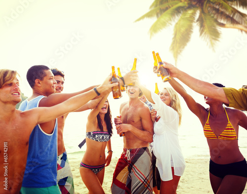 Fotografie, Obraz  Diverse Multiethnic People Partying and Toasting