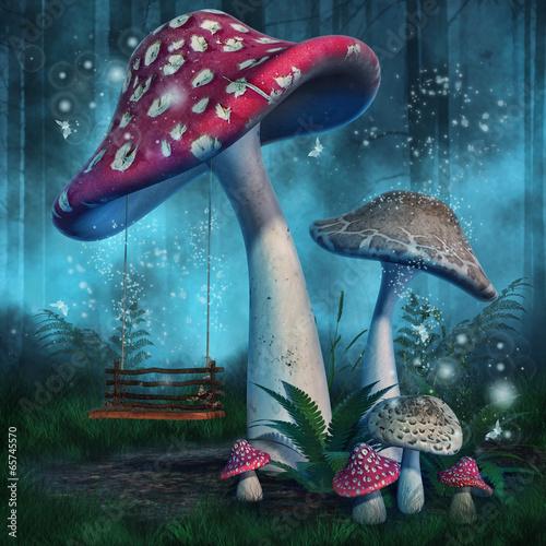 magiczny-las-z-wysokimi-grzybami-i-hustawka