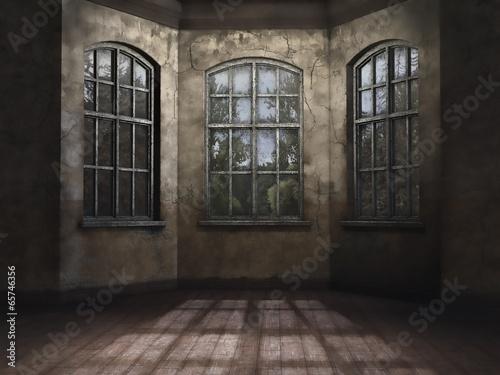 Obraz Posty pokój w opuszczonym budynku - fototapety do salonu