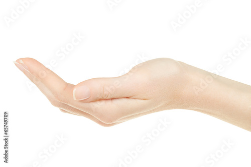 Fotografie, Obraz  Woman hand open, palm up isolated on white, clipping path