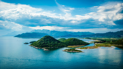 View of the sea, islands and clouds in southern Croatia