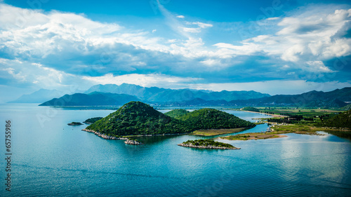 Poster Blauw View of the sea, islands and clouds in southern Croatia