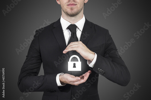 Fotografia  lock security businessman protect in office ambience
