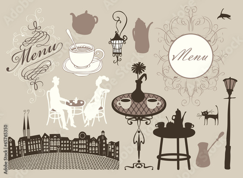 set of design elements on the subject of cafes and restaurants - 65765350