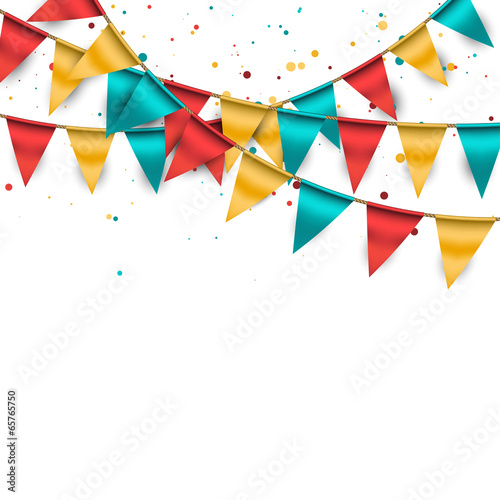 Fotografie, Obraz  Festive Background with Buntings and Confetti